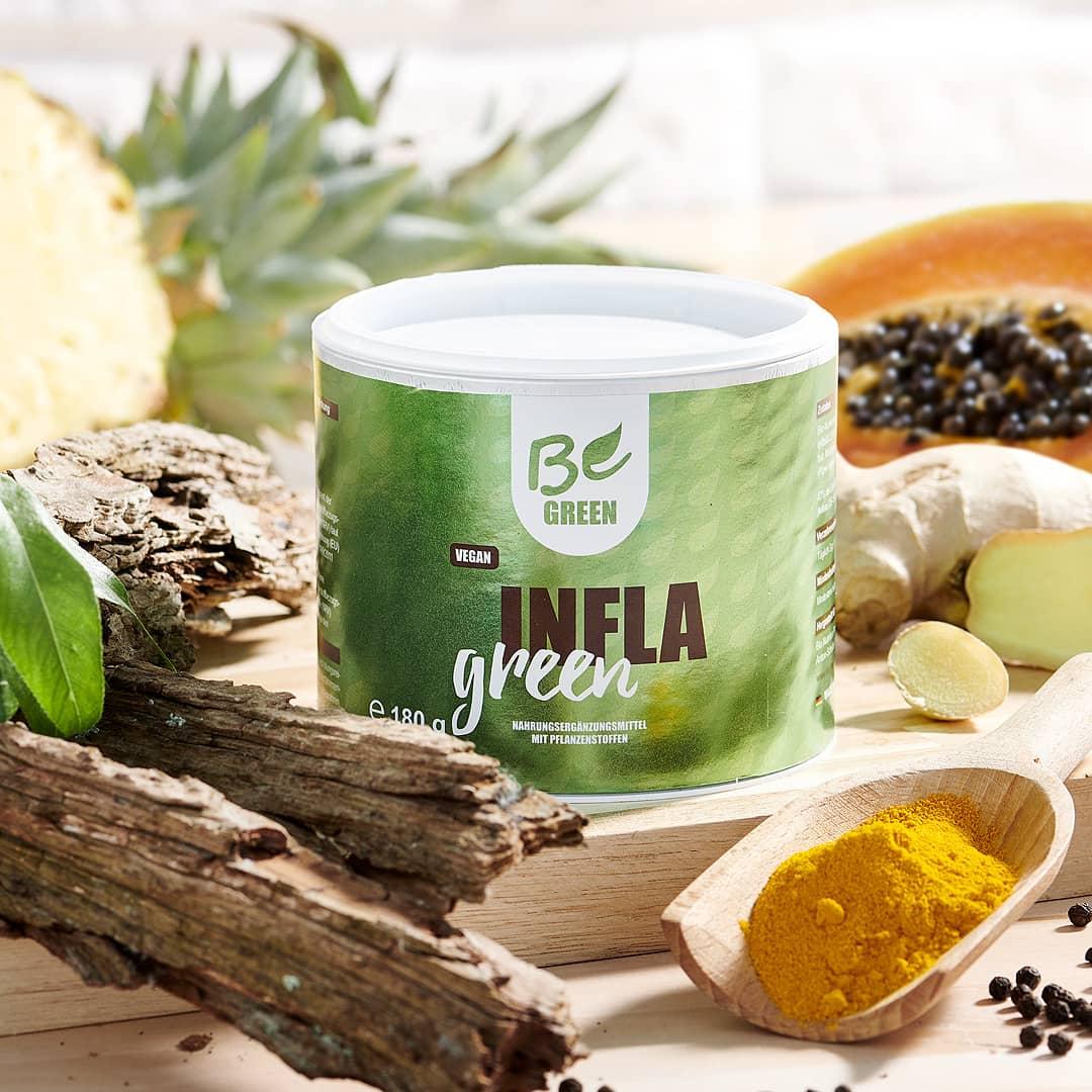 Infla Green mit Bio Kurkuma, Ingver, Bromelain und Papain kaufen